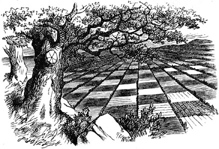 Sir-John-Tenniels-drawing-of-The-Chessground-viewed-by-Alice-and-The-Red-Queen-from-the-Hilltop