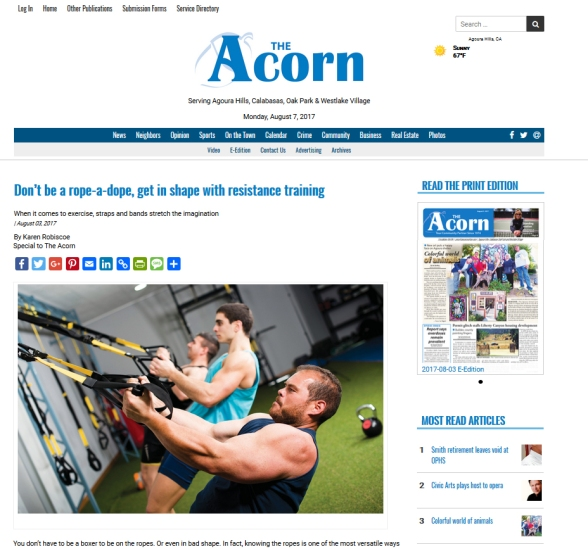 fitness article by Karen Robiscoe in Acorn_serving West Lake Village Calabasas Agoura Hills and Oak Park